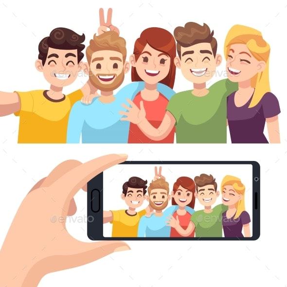 Group Selfie on Smartphone - People Characters