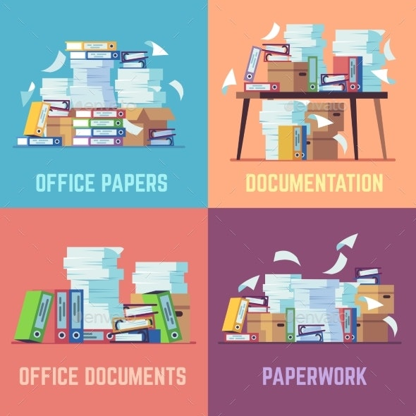 Office Paper Documents - Miscellaneous Vectors