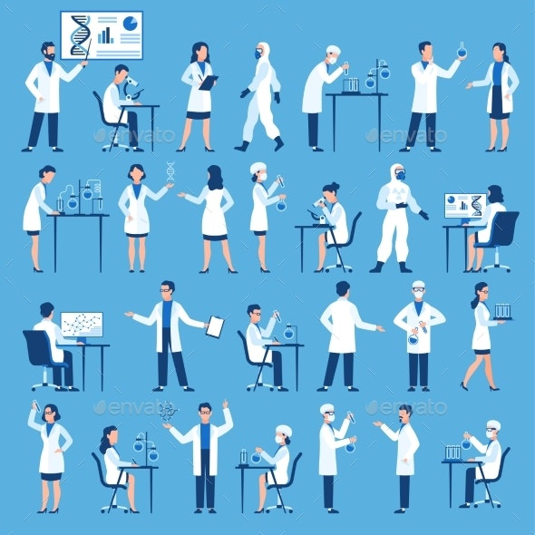 Scientists Characters Doctors Group in Science - Technology Conceptual