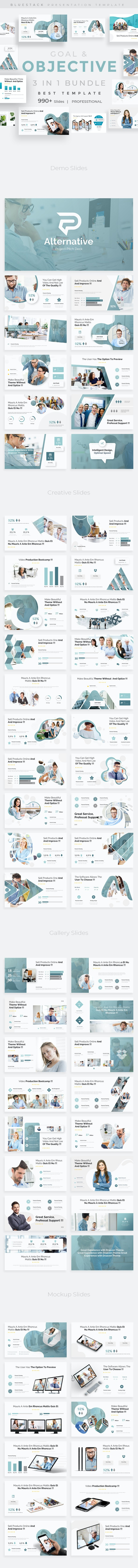 3 in 1 Goals Objectives Bundle Pitch Deck Keynote Template - Creative Keynote Templates