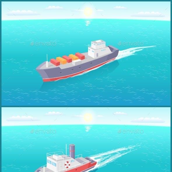 Steamboat Marine Transport Vessel Cargo Ship Icons