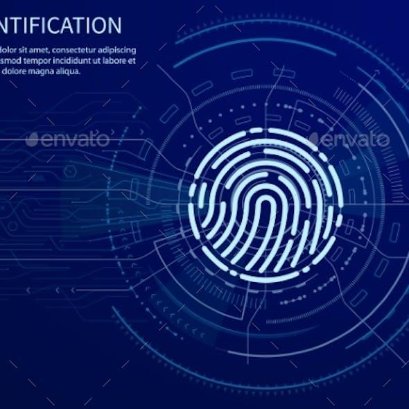Identification Fingerprint Poster Illuminated Data