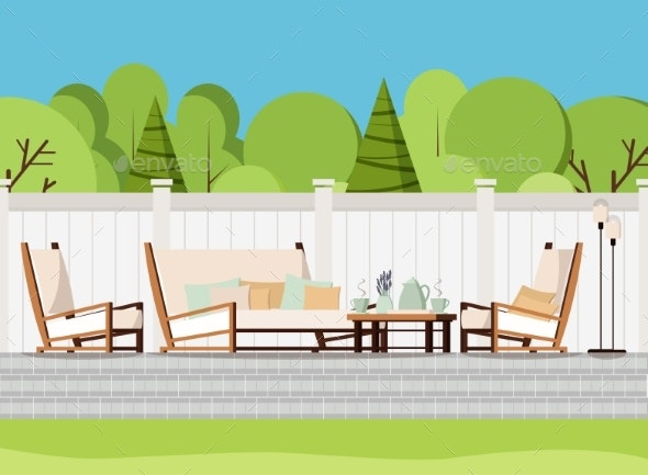 Relaxing Porch Zone Private Backyard Patio Retreat - Man-made Objects Objects