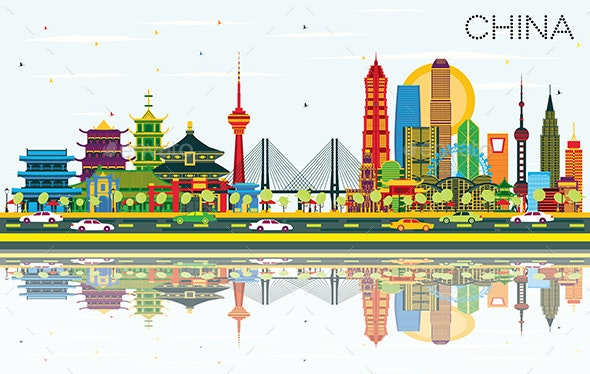 China City Skyline with Color Buildings - Buildings Objects