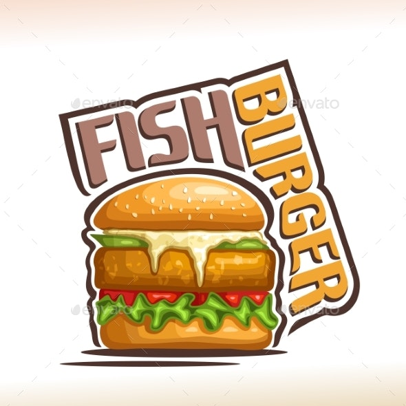 Vector Logo for Fish Burger - Food Objects