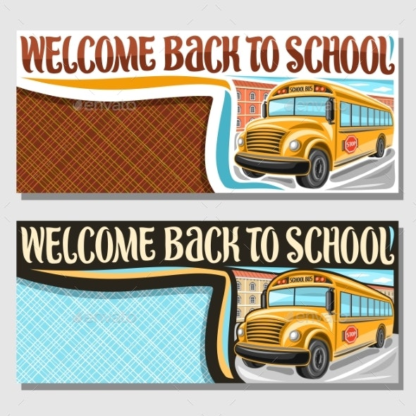 Vector Banners with School Bus - Miscellaneous Vectors