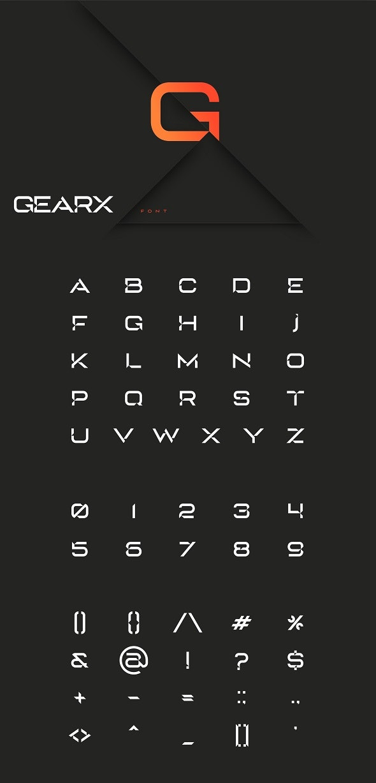 GearX font - Futuristic Decorative
