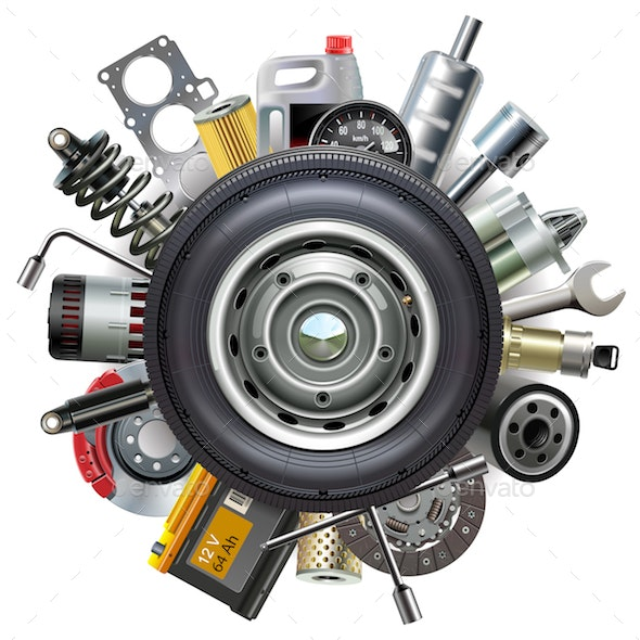 Vector Wheel with Car Spares - Industries Business