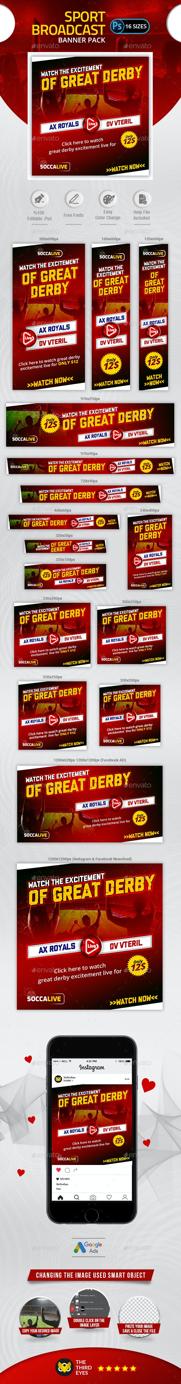 Sport Broadcast Banner - Banners & Ads Web Elements