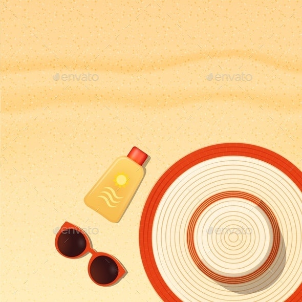 Sun Protection Items Laying on Beach - Backgrounds Decorative