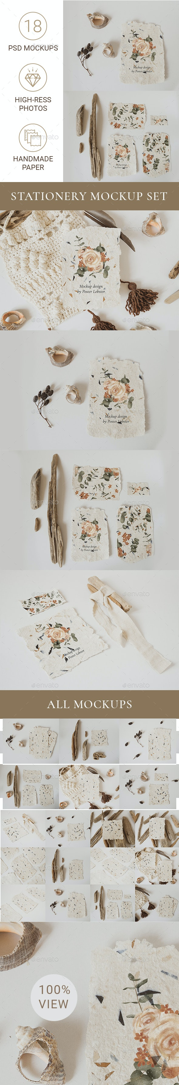 Boho Stationery Mockup Set - Stationery Print