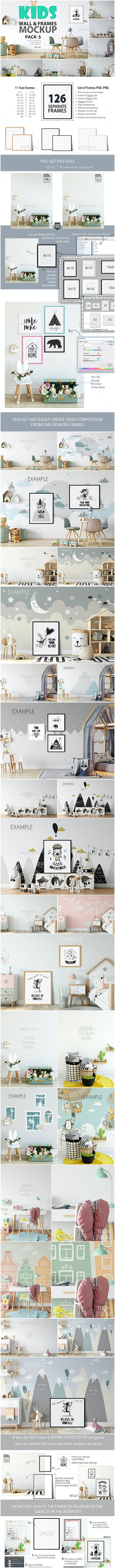 Kids Frames & Wall Mockup Pack - 5 - Product Mock-Ups Graphics