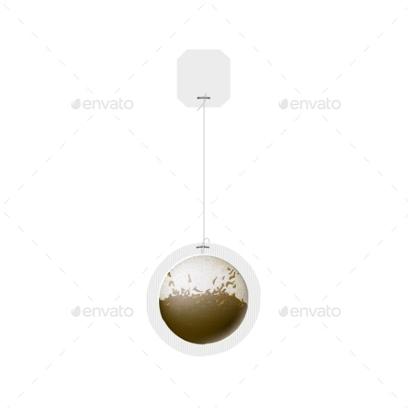 Vector Realistic Teabag with Blank Paper Label - Food Objects