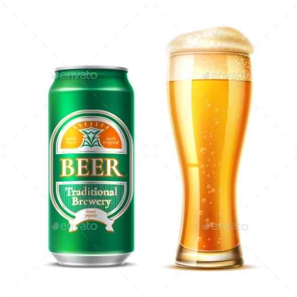 Vector Realistic Beer Glass Lager Beer Bottle - Food Objects