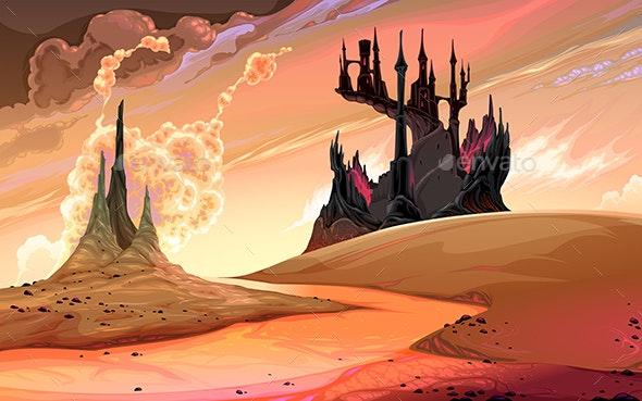Black Castle in the Sunset - Landscapes Nature