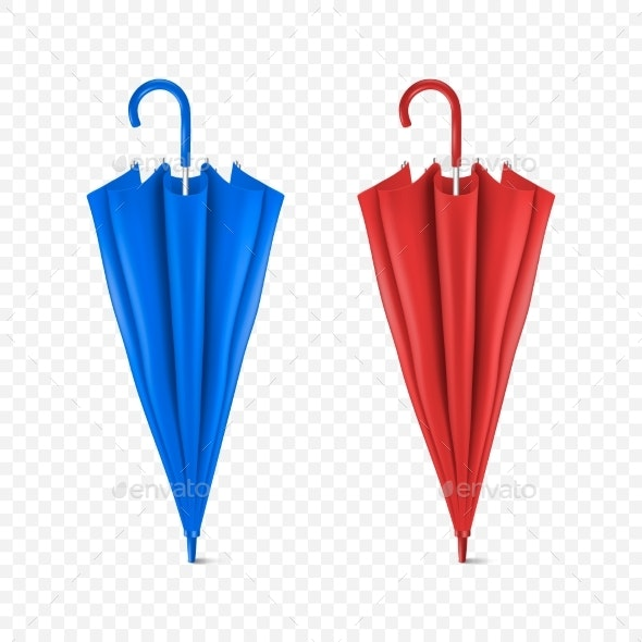 Vector Realistic Render Blue and Red Umbrella - Man-made Objects Objects