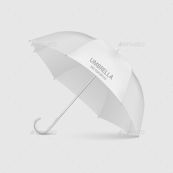 Vector Realistic Render White Blank Umbrella - Man-made Objects Objects