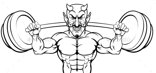 Devil Weight Lifting Body Builder Sports Mascot - Sports/Activity Conceptual