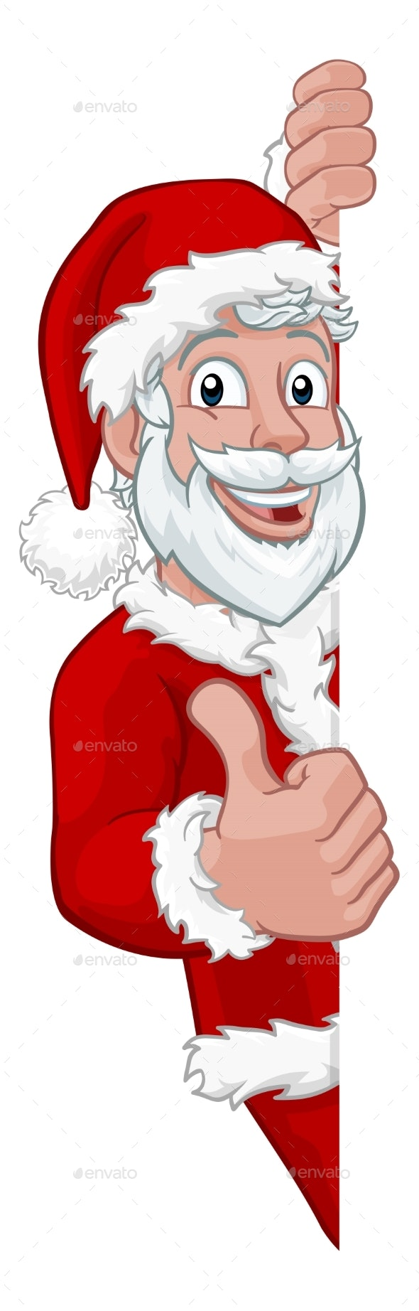 Young Santa Christmas Cartoon Sign Thumbs Up - Christmas Seasons/Holidays