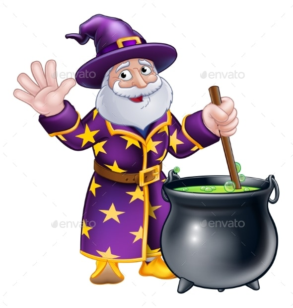 Wizard Cartoon Character and Cauldron - Halloween Seasons/Holidays