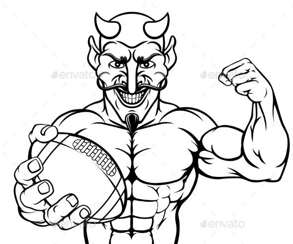 Devil American Football Sports Mascot Holding Ball - Sports/Activity Conceptual