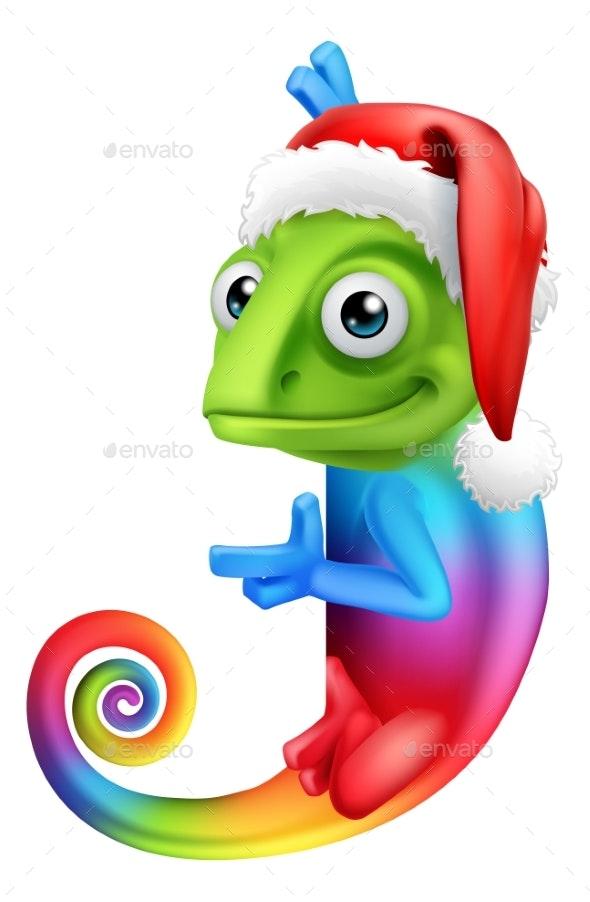 Christmas Hat Cartoon.Christmas Rainbow Chameleon Santa Hat Sign Cartoon
