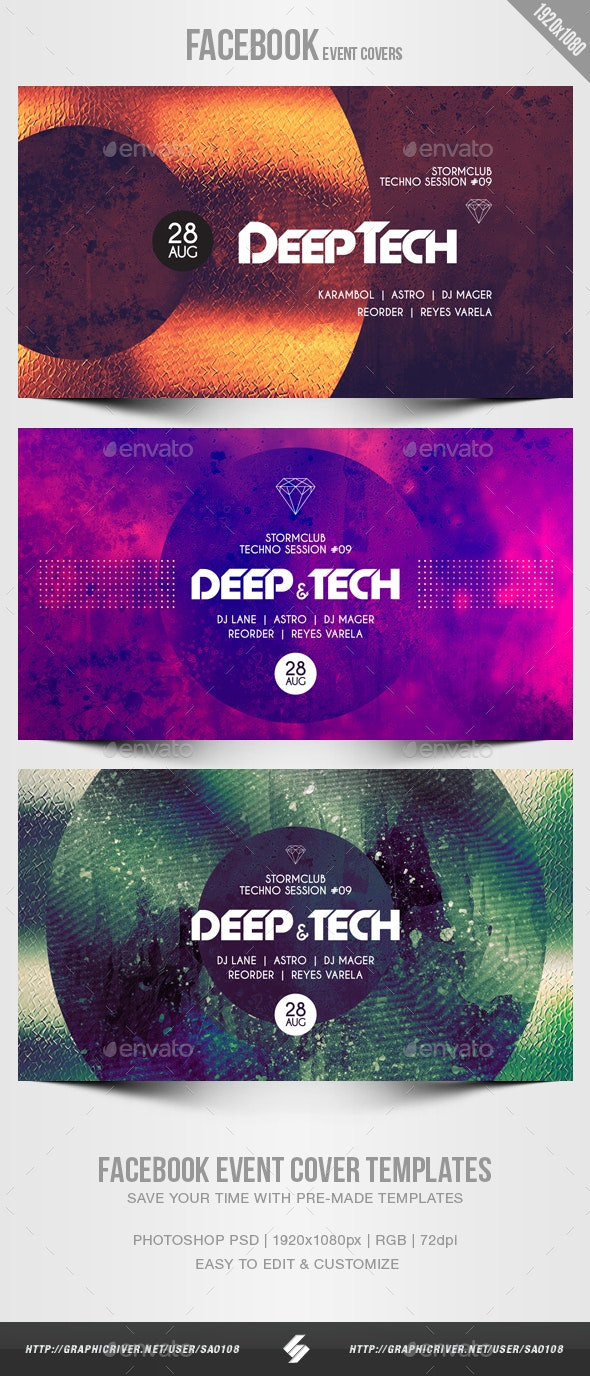 Electronic Music Party 12 - Facebook Event Cover Templates - Social Media Web Elements