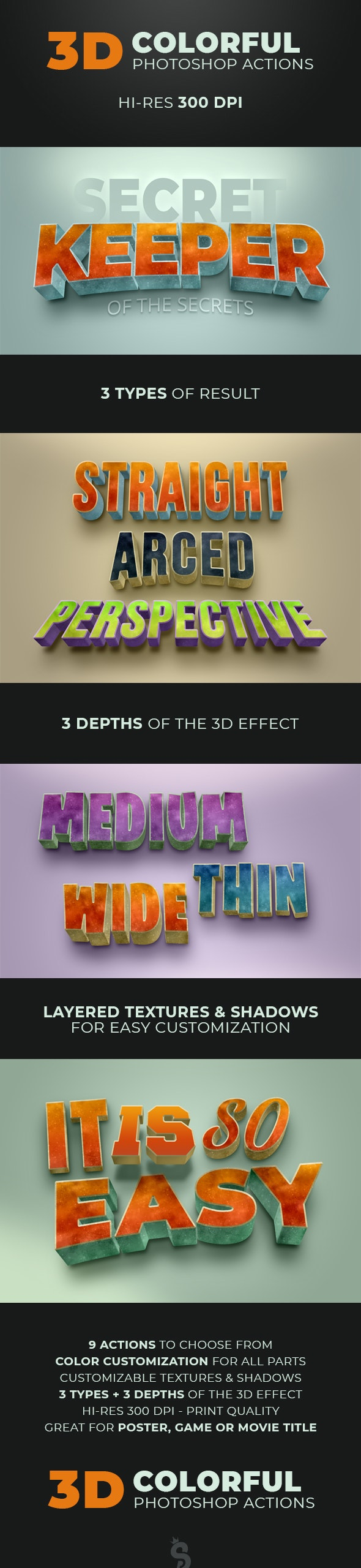 3D Colorful Grunge Actions - Text Effects Actions