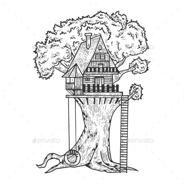 Tree House Sketch Engraving Vector - Buildings Objects
