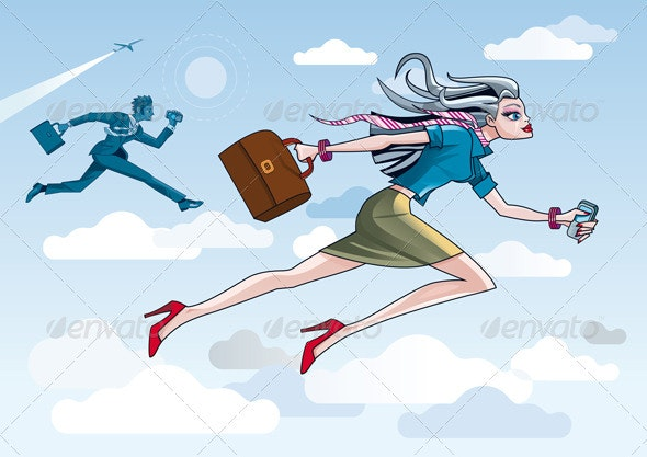 Businesswoman Running Through Clouds - Business Conceptual