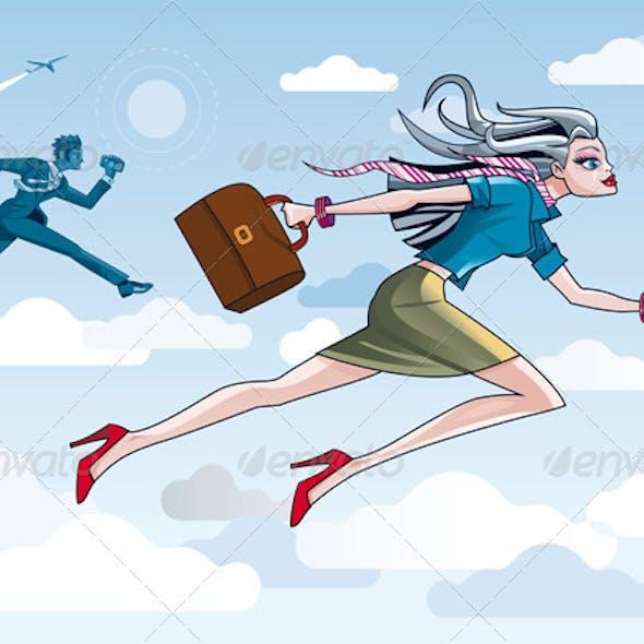 Businesswoman Running Through Clouds