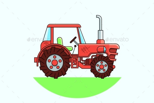 Retro Red Tractor in a Flat Style Isolated - Man-made Objects Objects