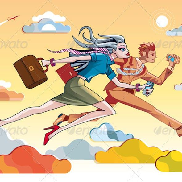 Businesswoman And Businessman Running Orange