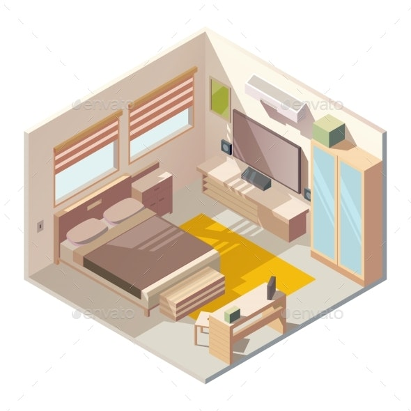 Comfortable Bedroom Interior Isometric Vector - Buildings Objects