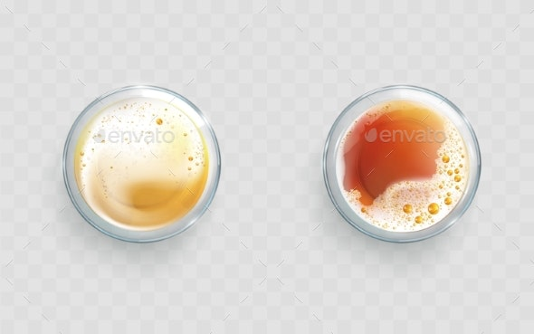 Light and Dark Beer in Glasses Realistic Vector - Food Objects