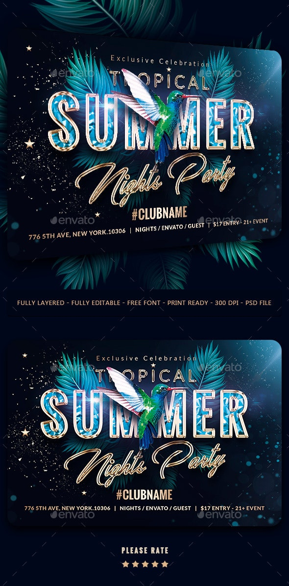 Summer Nights Party Flyer Template - Events Flyers