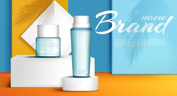 Summer Line Perfume Ad Banner Realistic Vector - Man-made Objects Objects