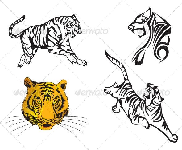 Tiger Vector Set - Characters Vectors