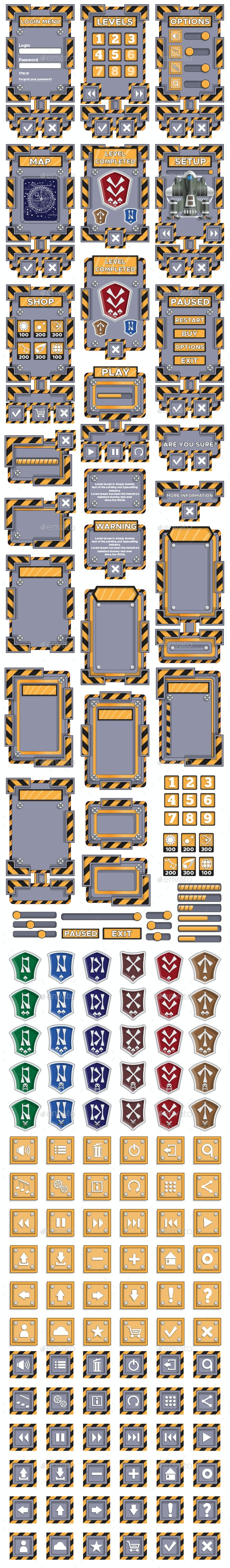 Set of Elements for the 2D Game - User Interfaces Game Assets