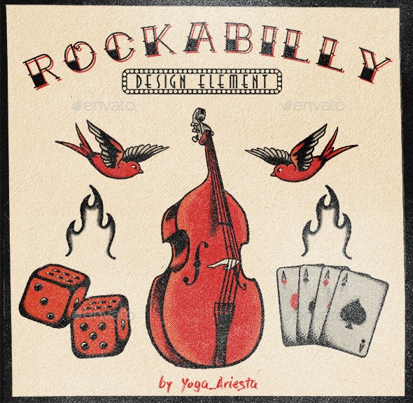 5 Graphic Element of Old School Rockabilly Theme Tattoo - Objects Illustrations