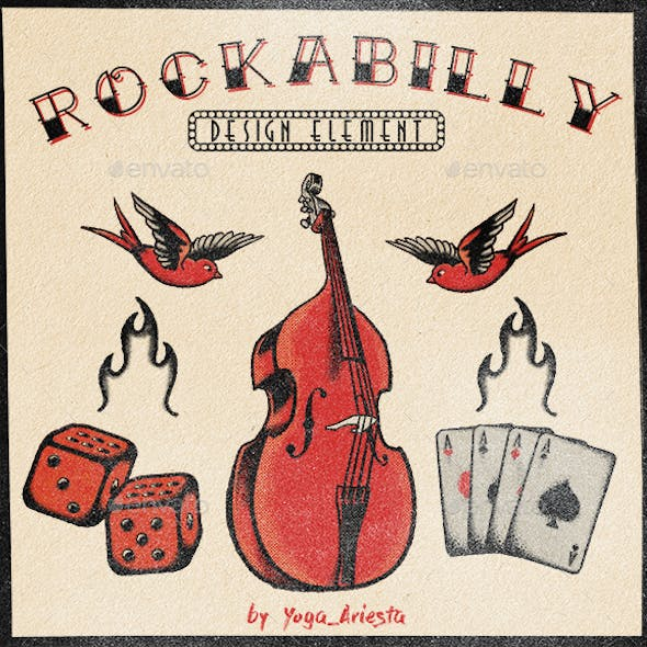 5 Graphic Element of Old School Rockabilly Theme Tattoo