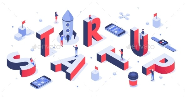 Isometric Startup Lettering Company Launch - Concepts Business
