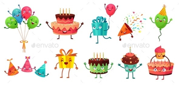 Cartoon Birthday Celebration Set - Birthdays Seasons/Holidays