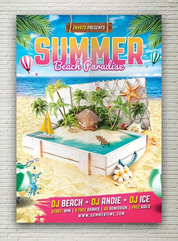 Tropical Summer Beach Flyer - Flyers Print Templates