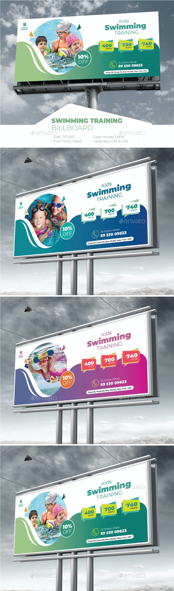 Kids Swimming Training Billboard - Signage Print Templates