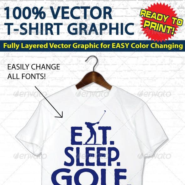 Golf Vector T-shirt Graphic - Template