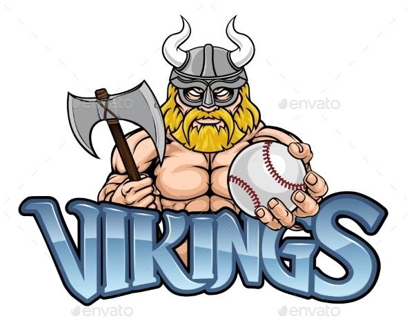 Viking Baseball Sports Mascot - Sports/Activity Conceptual