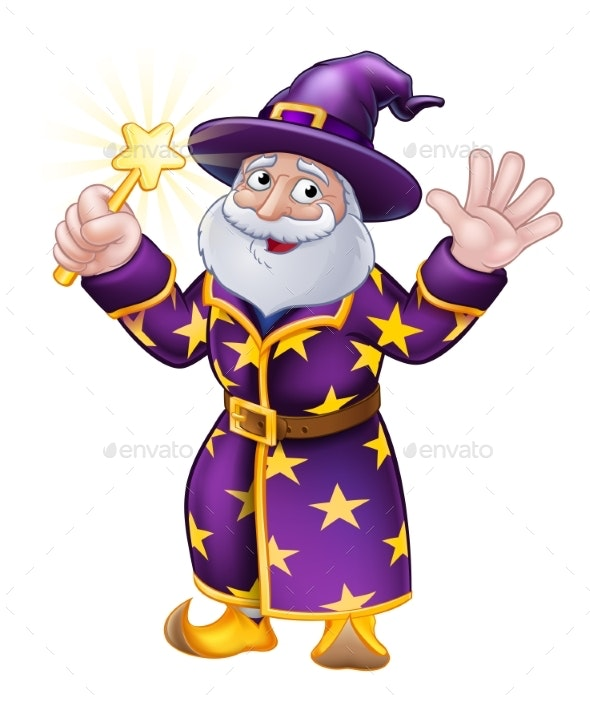 Wizard with Wand Cartoon Character - Halloween Seasons/Holidays