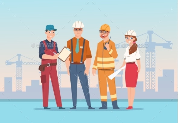 Builders and Engineers Background Cartoon Factory - People Characters