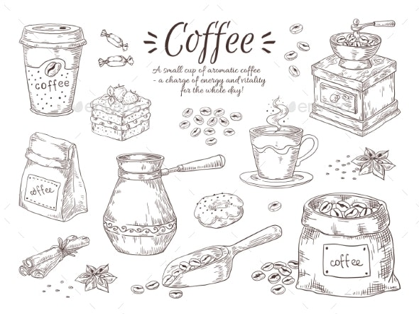 Hand Drawn Coffee - Backgrounds Decorative